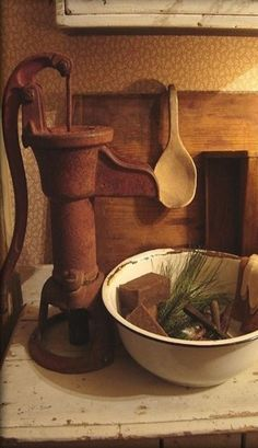 Old Metal Well Pump, Enamelware and Wood - Great Combination.