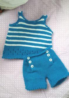 mode-bebe-ensemble-6-mois-debardeur-et-short Modèle, 3 6 12 18 mois, tricot, layette, cadeau naissance