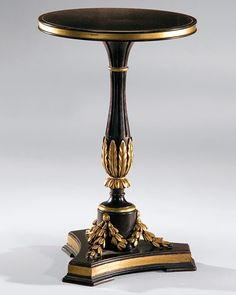 black occasional table - carved wood table - black italian neoclassic style round carved wood table