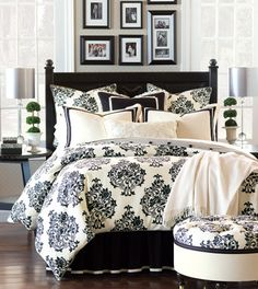 Evelyn Floral Damask Bedding Collection in Black and White - Bedding Collections - Fine Linens and Accents - Bedding and Bath Damask Bedding, Black Bedding, Comforter Sets, Custom Bedding, King Comforter, Queen Duvet, Home Bedroom, Bedroom Decor, Master Bedroom