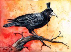 23 Enigma: Fine Art Watercolour Blackbird by ClockworkArtShop