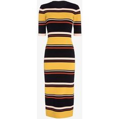 Exclusive for Intermix Wyatt Striped Mid-Length Ribbed Knit Dress (235 CAD) ❤ liked on Polyvore featuring dresses, exclusive for intermix, ribbed knit midi dress, calf length dresses, stripe midi dress, stripe dress and mid length dresses