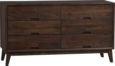 """C Steppe 6-Drawer Dresser  57.25""""Wx20.25""""Dx31.5""""H Solid shesham and solid sustainable mango wood $1,599."""