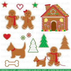 Clip Art Set - Gingerbread Boy, #Girl, #Puppy and House - Christmas #Holidays - 1,  View more on the LINK: http://www.zeppy.io/product/gb/3/111176144/