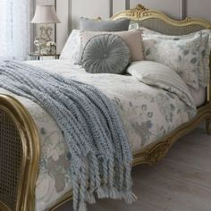 Love this delicate floral luxe bedroom set - Gallery Direct Westbury Floral Duck Egg Bedding Set from WorldStores: Everything For The Home Silk Bedding, Cheap Bedding Sets, Cottage Interiors, Shabby Cottage, Duvet Cover Sets, Pillow Cases, Furniture, Florals