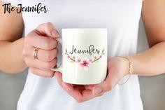 Custom Name Mug, Personalized Mug, Floral Name Mug by handmadepluslovely on Etsy https://www.etsy.com/listing/564442485/custom-name-mug-personalized-mug-floral