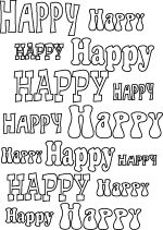 Line art word art #happy #coloringpage
