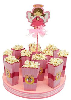 Despachador de bolsa de palomitas rosa. Manualidades para decorar tus fiestas