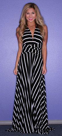 Bahama Stripe Maxi in Black | Impressions