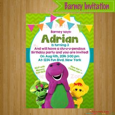 BARNEY Barney Invitation Barney Party Barney by FiestaPartyZone