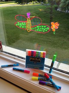 Research has proven that the activity of drawing aids in the physical, cognitive and emotional development of children. Fun Chalk Liquid Chalk Markers may be considered for use in this activity due to their safety. Fun Crafts, Crafts For Kids, Arts And Crafts, Liquid Chalk Markers, Fluorescent Colors, Window Art, Kids Corner, Craft Activities For Kids, Business For Kids