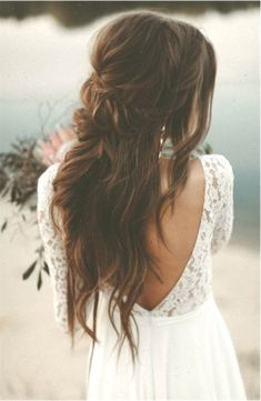 boho wedding hair Flowing Bridal Gown Long Lace Sleeves Back Cutout Boho Wedding Dress Vintage, Wedding Hairstyles Half Up Half Down, Bohemian Hairstyles, Wedding Hairstyles For Long Hair, Vintage Hairstyles, Twist Hairstyles, Bride Hairstyles, Boho Wedding Hair, Wedding Hair And Makeup, Wedding Beauty