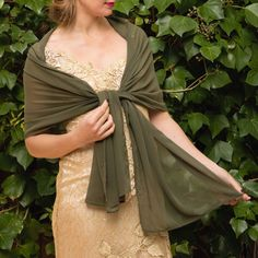 d4a8d1bec15f Luxury Green Khaki Battle green Moss Basil Chiffon wrap shawl bolero Winter  wedding shrug elegant accessory 200 cm