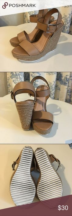 Nude Platform Wedges These are platform espadrille wedges in a nude color in size 8 from the European brand Stradivarious. Will also fit size 8.5. Heel height is 5.5 inches and platform height is 1.5 inches. These shoes make the legs look super long and shapely! Stradivarius Shoes Wedges