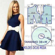 Analise com atenção o molde vestido com laço por forma a fazer leitura correta para da imagem. O molde de vestido encontra-se no tamanho 38. A ilustração d