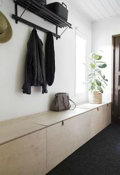 Narrow hallway storage bench hallway storage projects for narrow small spaces apartment therapy small hallway storage Hall Bench With Storage, Modern Storage Bench, Diy Storage Bench, Hallway Storage, Storage Spaces, Storage Ideas, Storage Solutions, Diy Bench, Small Entryways