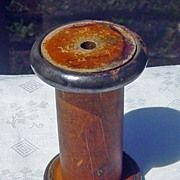 vintage Large Wooden Industrial Sewing  Spool With Metal Ends