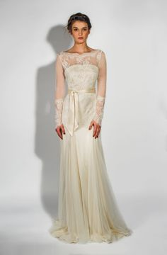 Belle Bunty Vintage Inspired Modern Wedding Dresses The Aster Dress Lace Long Sleeve With Cream Silk Satin Ed Underskirt And Sash