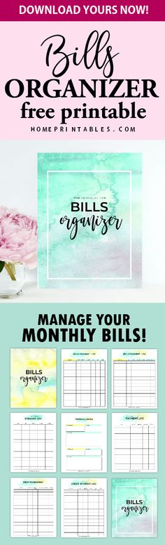 Download this free monthly bills payment organizer to crack down your credit and increase your savings!  #planner #printable #bills #financial