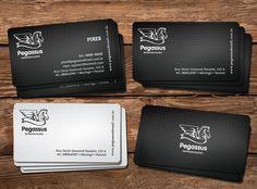 Cartão de visitas, seguindo a mesma identidade visual criada para a empresa Pegassus do Brasil.