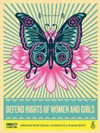 Shepard Fairey Poster, Defend Rights of Women & Girls
