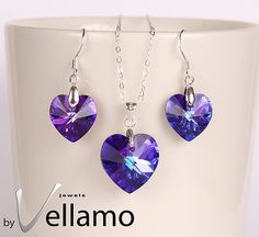 Purple jewelry set with earrings and necklace with Swarovski hearts by byVellamo, $55.00