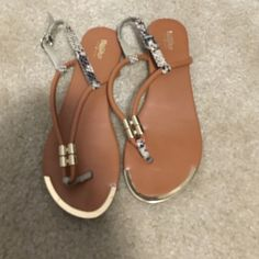 Brown t-strap sandal Brown t-strap sandal with snake skin and gold detail Mossimo Supply Co Shoes Sandals