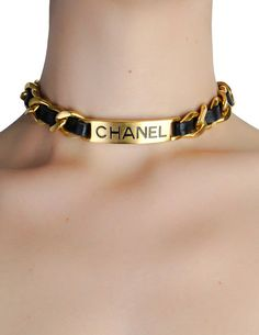 1aab748b49f71 Chanel Vintage Gold Chain & Black Leather ID Tag Nameplate Choker Neck -  from Amarcord Vintage
