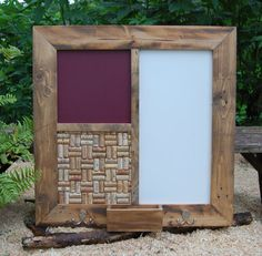 Message Center with White Board....Burgundy Chalkboard...Recycled Wine Cork Board...beautiful reclaimed wood!