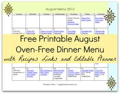 Free August Oven Free Meal Plan Printable