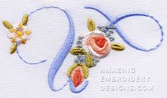 Amazing Embroidery Designs  Letter U with roses
