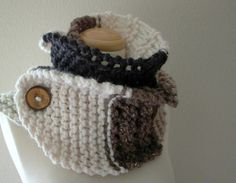 neutral territory chunky knit color block cowl by KnotOriginal, $86.00