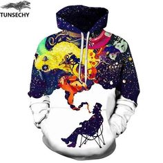 Jeffre Simp Mens Hooded Sweatshirt Christmas Blue Snow White Pullover Fashion Hoodie Sweater