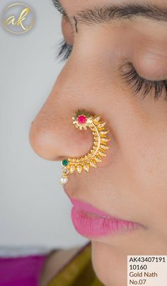 Gold Nose Hoop, Gold Nose Rings, Ear Rings, Gold Temple Jewellery, Gold Jewellery Design, Bead Jewellery, Nose Ring Designs, Nose Ring Jewelry, Pearl Necklace Designs