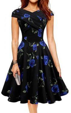 Retro Style V-Neck Rose Print Short Sleeve Ball Dress