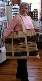 make a quilted bag big enough to hold your cutting mat, fabric, ruler, scissors, all the supplies you need to bring!