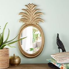 Gold Metal Pineapple Mirror 43 x 85 cm on Maisons du Monde. Take your pick from our furniture and accessories and be inspired! Pineapple Room, Pineapple Kitchen, Pineapple Gifts, Kitchen Styling, Kitchen Decor, Spiegel Gold, How To Lay Tile, Unique Mirrors, Ideas Hogar