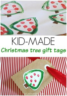 Christmas Tree stamp gift tags. Made by kids.