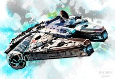 Star Wars, Millennium Falcon, Geekery fan art illustration, Poster size, Canvas art print available in 18x24 or 24x36.