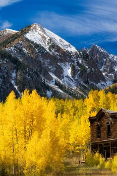 Ghost town in the Fall in the Rocky Mountains, Colorado