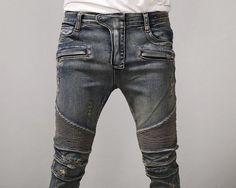 Mens BM Stretch Pintuck Hard Washed Skinny Biker Jeans at Fabrixquare