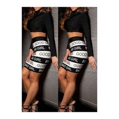 Long Sleeve Crop Top and Letter Print Skirt (£15) ❤ liked on Polyvore featuring skirts, black, patterned maxi skirt, long black skirt, mini skirt, print skirt and black skirt