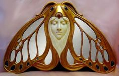 Art Nouveau Lady Moth Hanging Mirror by angelia Mobiliário Art Nouveau, Design Art Nouveau, Bijoux Art Nouveau, Art Nouveau Jewelry, Belle Epoque, Arte Art Deco, Muebles Art Deco, Arte Fashion, Art Nouveau Furniture