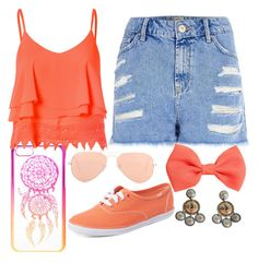 """""""Orange (rainbow tag)"""" by derpyfangirl101 ❤ liked on Polyvore featuring claire's, Ray-Ban, Glamorous, River Island, H&M, Keds and GAS Jeans"""