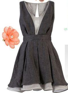 love this gray babydoll vneck dress from farfetch.com.