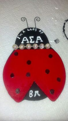 Newest ladybug craft of mine. Sorority Crafting, Sorority Life, Phi Sigma Sigma, Alpha Sigma Alpha, Ladybug Crafts, Greek Life, Ladybugs, College Life, Ministry