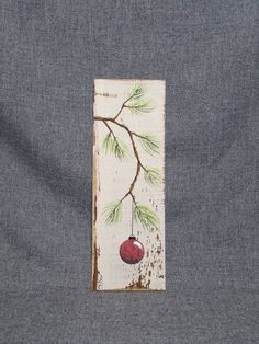 Red Christmas decoration, Christmas Gift, Pine Branch with RED Bulb, hand painted Reclaimed barnwood, Christmas decor Pallet Christmas, Christmas Signs Wood, Christmas Crafts For Gifts, Christmas Mantels, Outdoor Christmas Decorations, Christmas Art, Craft Gifts, Christmas Bulbs, Christmas Ideas
