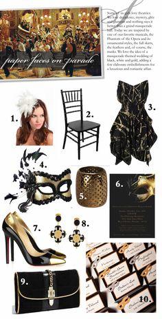 Masquerade themed wedding inspiration board.