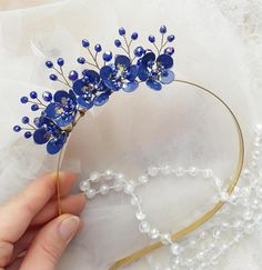 Electric Blue Jewelry Bridesmaids Head Band Blue Hair Crown