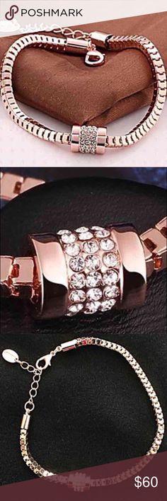 18K Rose Gold Rhinestone Bracelet Beautiful and new!! Jewelry Bracelets